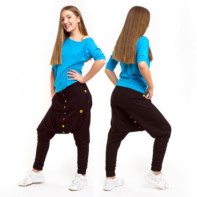 Dětské knoflíčkové kalhoty se sníženým sedem 632G - černá d91e3e422c