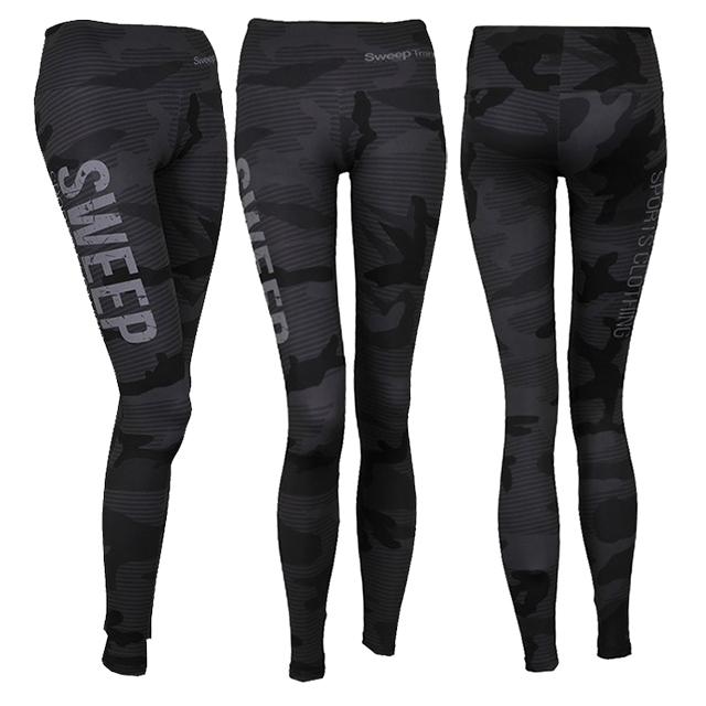 Sportovní a běžecké legíny SWPT053 - šedý maskáč  4c301699c1