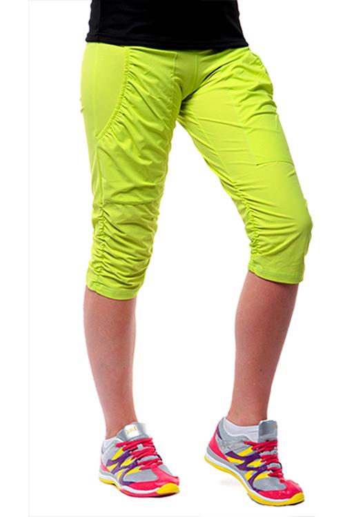903164cafca Dámské sportovní krátké kalhoty s řasením EG923 - citronová ...