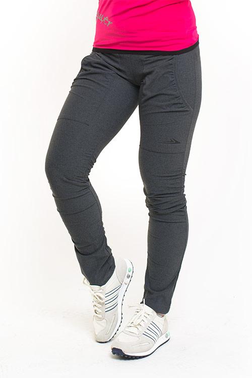 Dámské zateplené kalhoty s řasením MK923 - šedá žíhaná  9ca1c6df3c